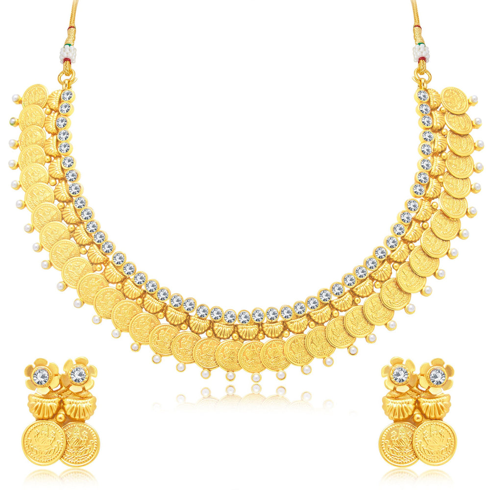 Sukkhi Creative Laxmi Coin Gold Plated Traditional Necklace Set For Women