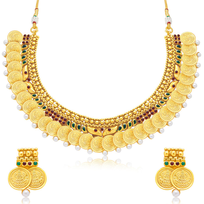 Sukkhi Amazing Laxmi Coin Gold Plated Traditional Necklace Set For Women