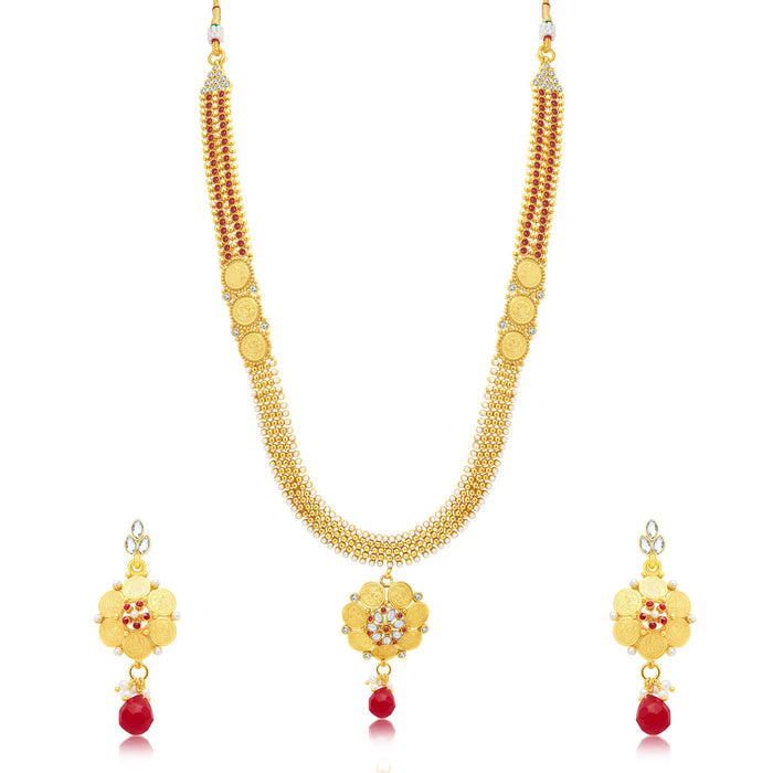 Sukkhi Divine Laxmi Coin Gold Plated Long Haram Necklace Set For Women