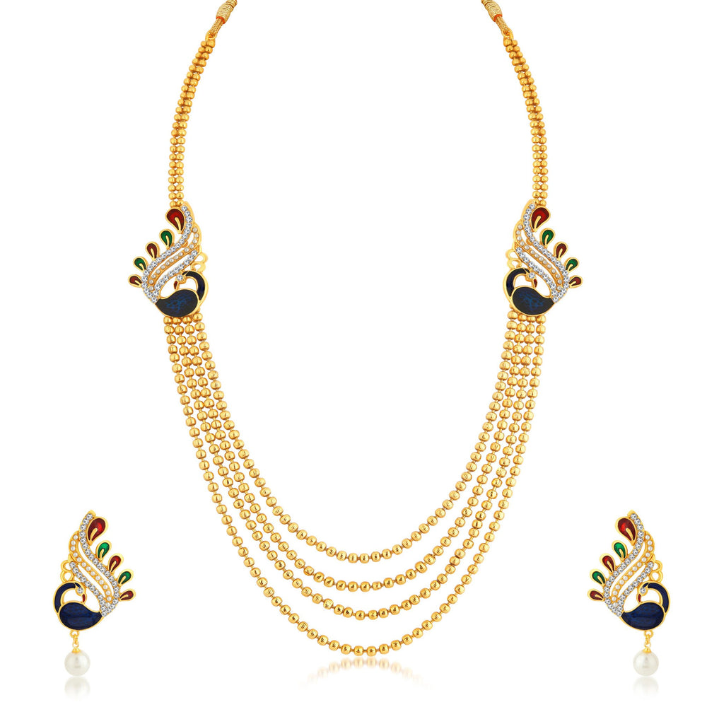 Sukkhi Classy Peacock 4 String Gold Plated Long Haram Necklace Set For Women
