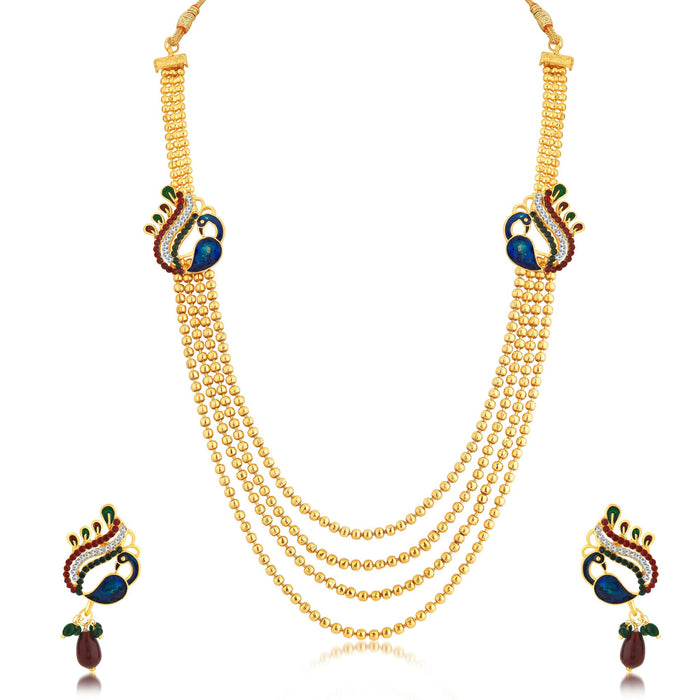 Sukkhi Attractive Peacock 4 String Gold Plated Long Haram Necklace Set For Women
