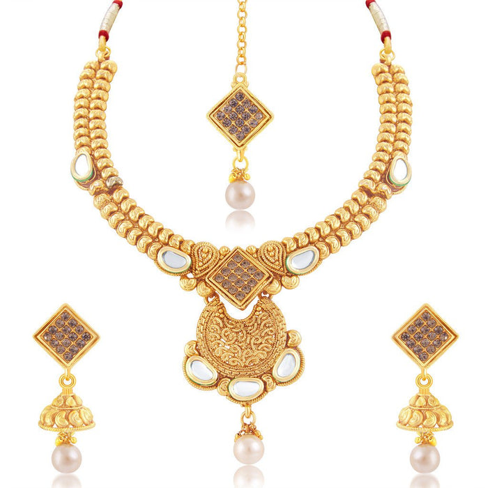 Sukkhi Fascinating Gold Plated Choker Necklace Set For Women
