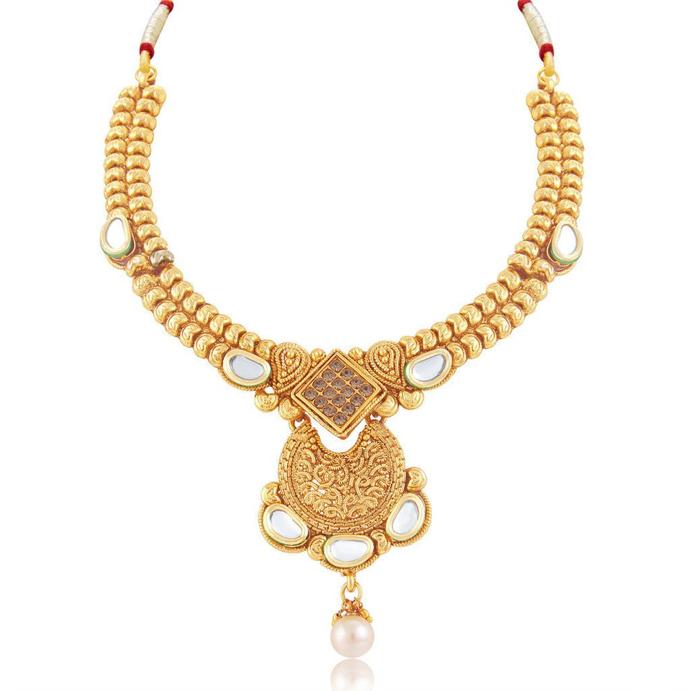 Sukkhi Fascinating Gold Plated Choker Necklace Set For Women-1