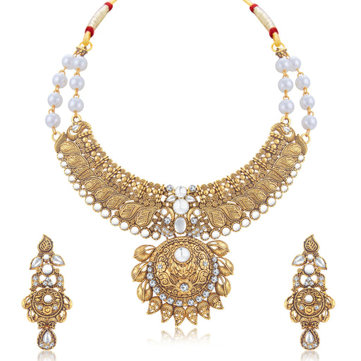 Sukkhi Fine Mango Gold Plated Choker Necklace Set For Women