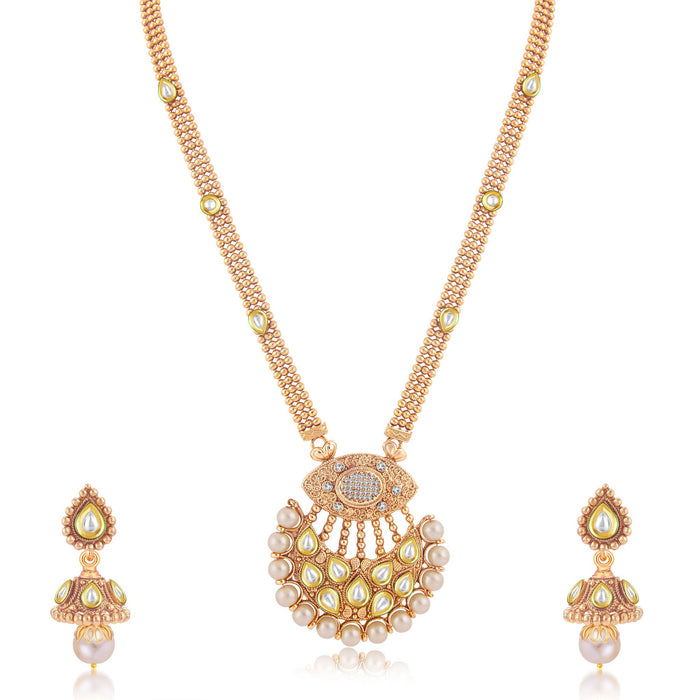 Sukkhi Exotic Gold Plated Long Haram Necklace Set For Women