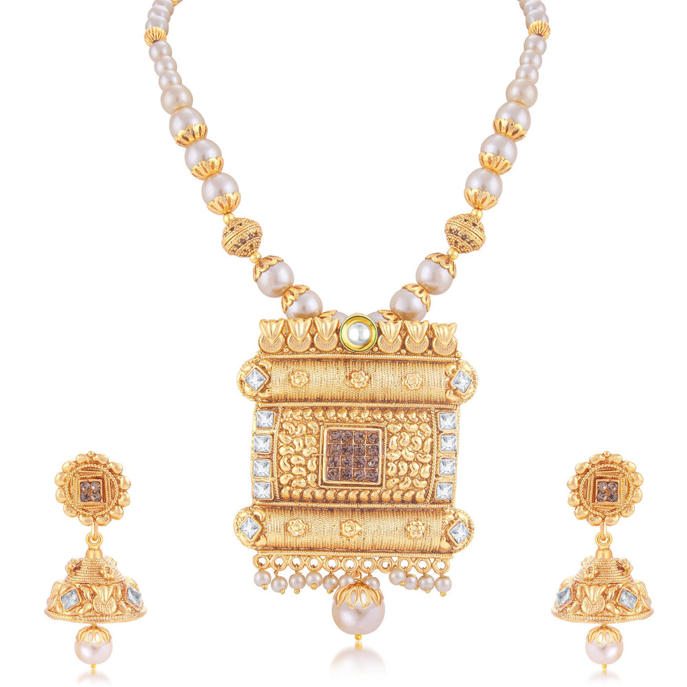 Sukkhi Beguiling Gold Plated Long Haram Necklace Set For Women