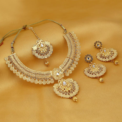 Sukkhi Modish Temple Gold Plated Necklace set For Women