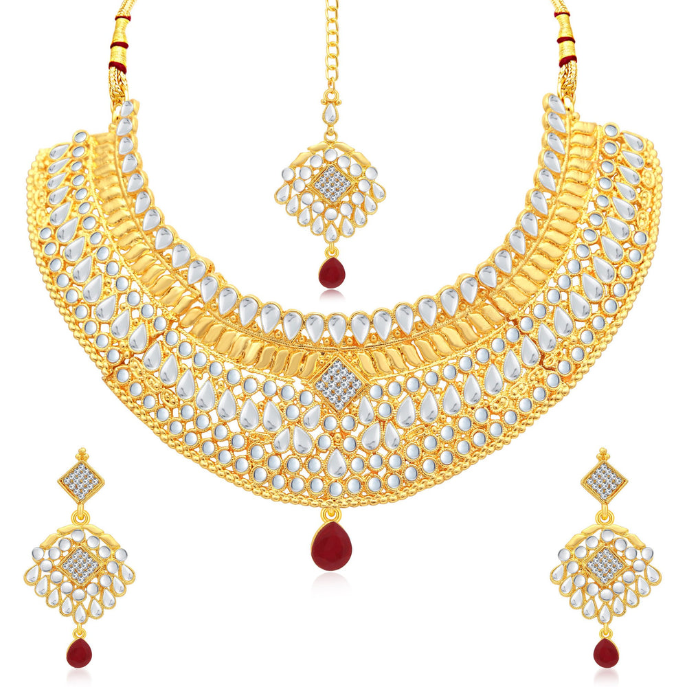 Sukkhi Resplendent Gold Plated AD Choker Necklace Set For Women