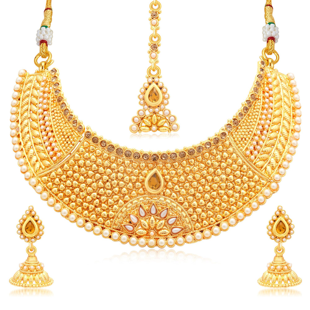Sukkhi Astonish Gold Plated LCT Stone Choker Necklace Set For Women