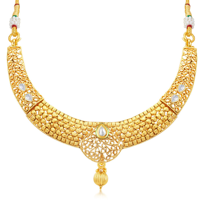 Sukkhi Finely Gold Plated Collar Necklace Set For Women-1