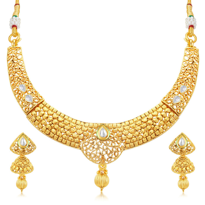 Sukkhi Finely Gold Plated Collar Necklace Set For Women