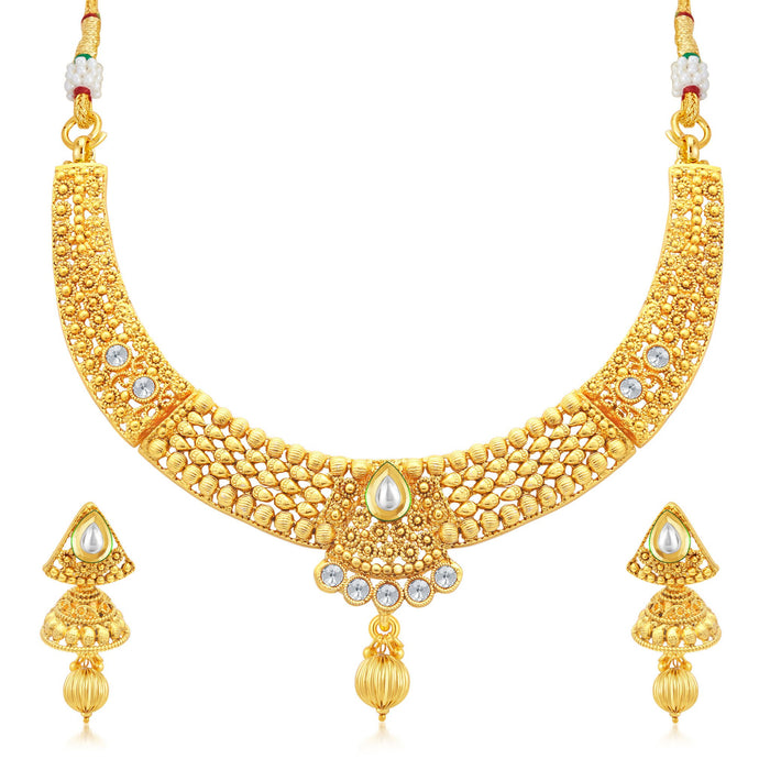 Sukkhi Divine Gold Plated Collar Necklace Set For Women