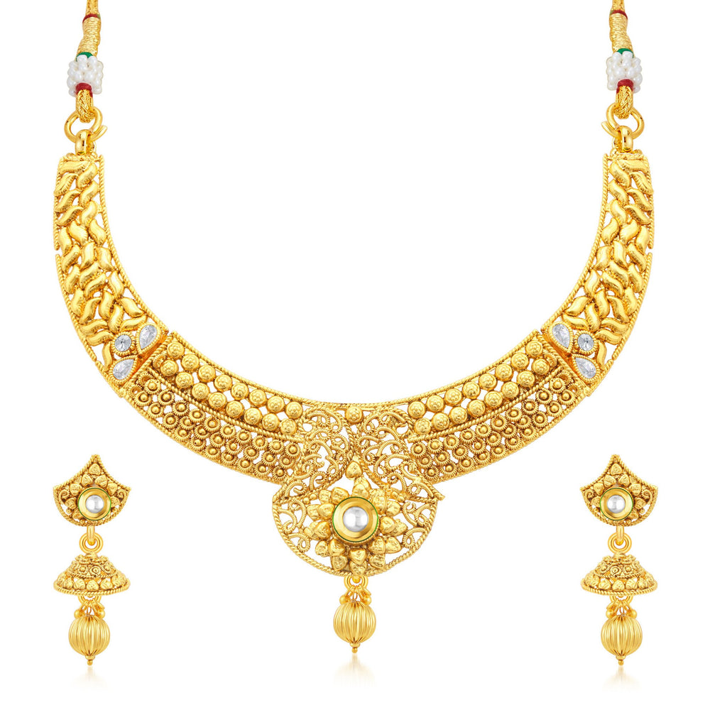 Sukkhi Cluster Gold Plated Collar Necklace Set For Women