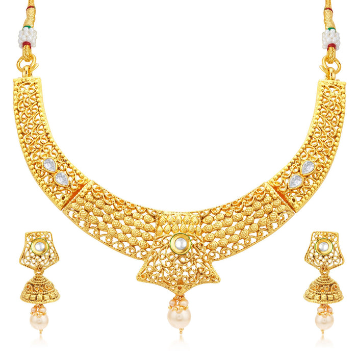 Sukkhi Royal Gold Plated Collar Necklace Set For Women