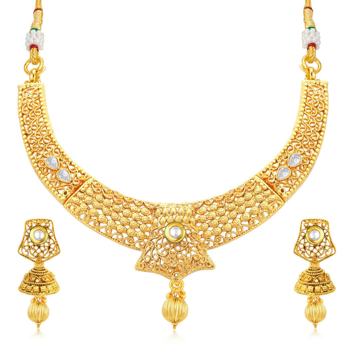 Sukkhi Elegant Gold Plated Collar Necklace Set For Women