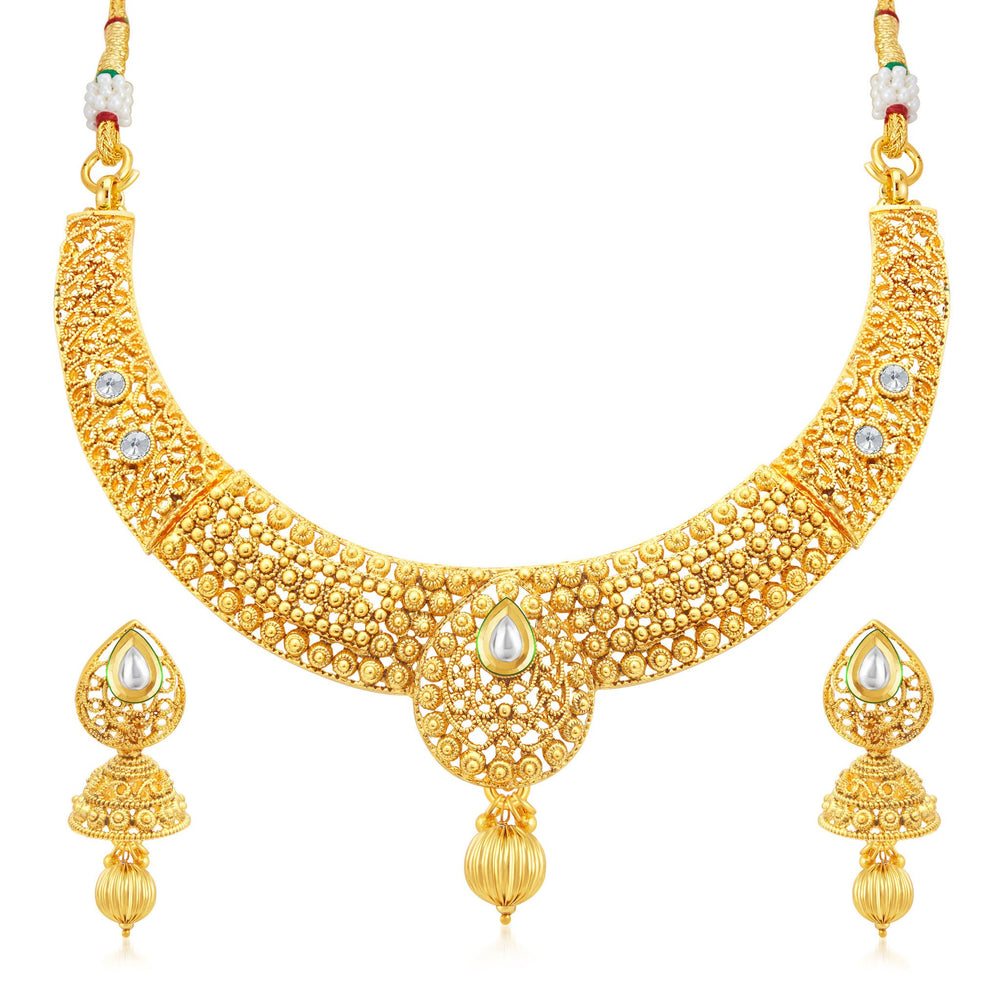 Sukkhi Pretty Gold Plated Collar Necklace Set For Women