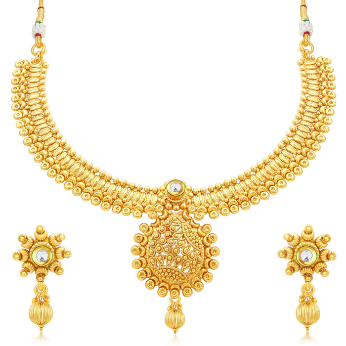 Sukkhi Ethnic Gold Plated Collar Necklace Set For Women
