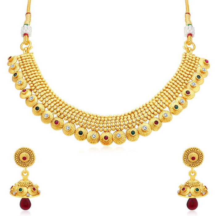 Sukkhi Brilliant Gold Plated Collar Necklace Set For Women
