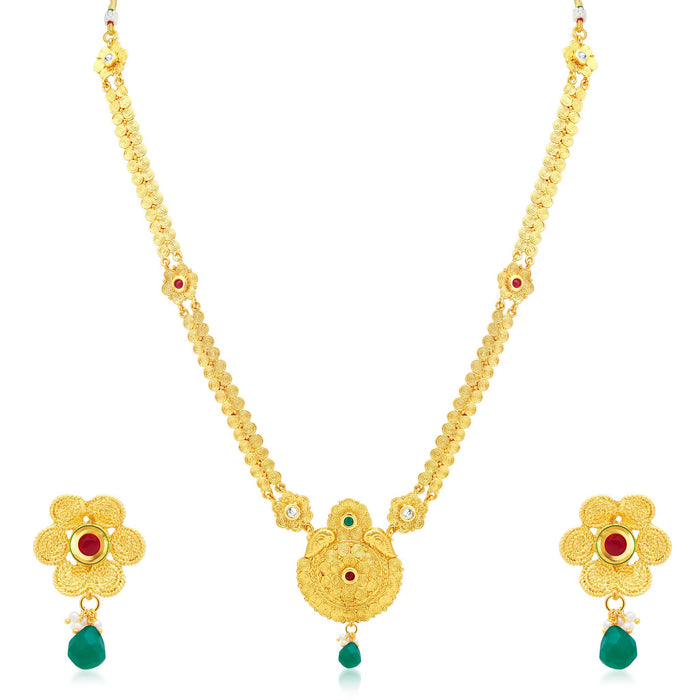 Sukkhi Trendy Jalebi Gold Plated Long Haram Necklace Set For Women