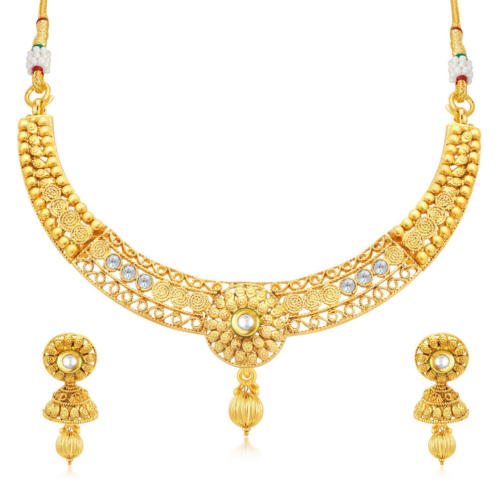 Sukkhi Bewitching Jalebi Gold Plated Collar Necklace Set For Women