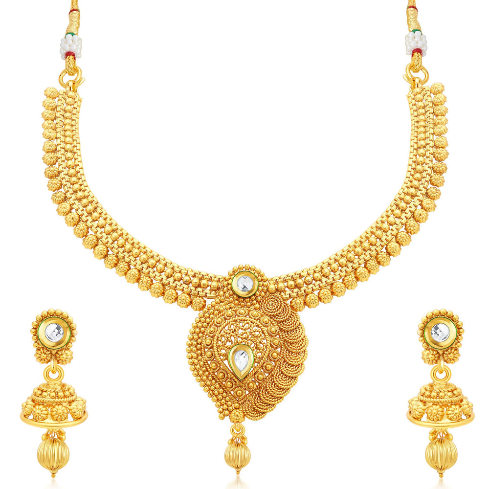Sukkhi Creative Jalebi Gold Plated Collar Necklace Set For Women