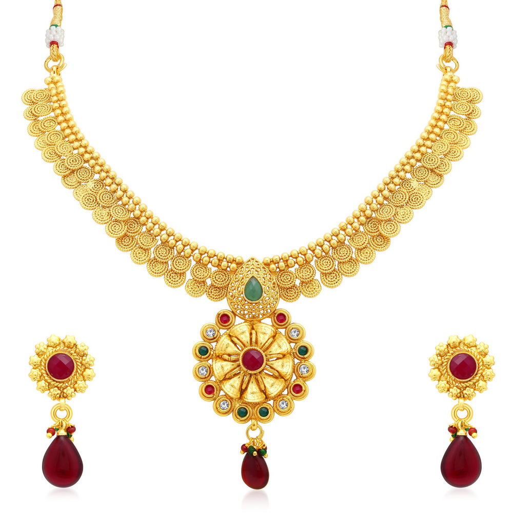 Sukkhi Glittery Jalebi Gold Plated Collar Necklace Set For Women