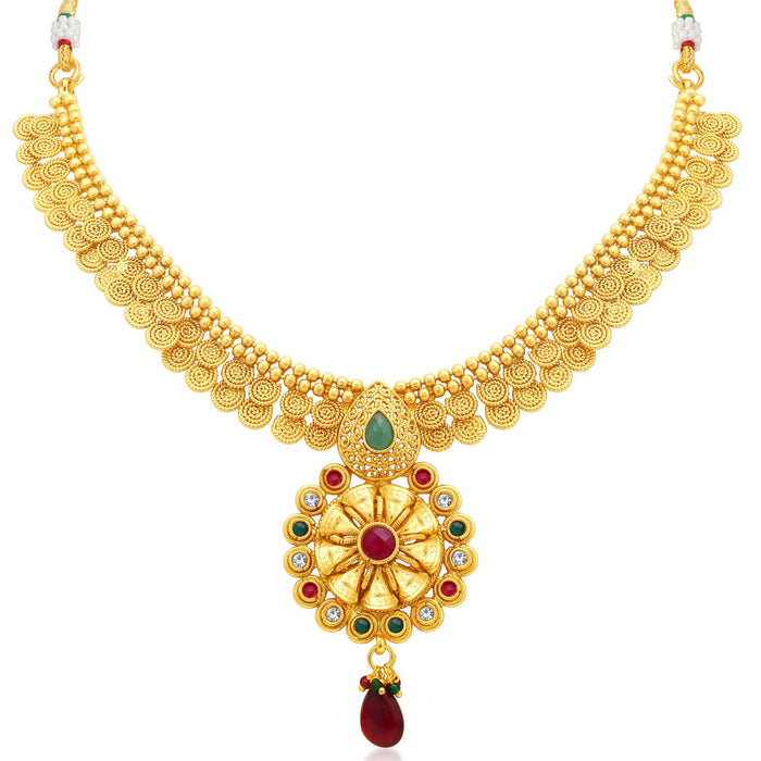 Sukkhi Glittery Jalebi Gold Plated Collar Necklace Set For Women-1