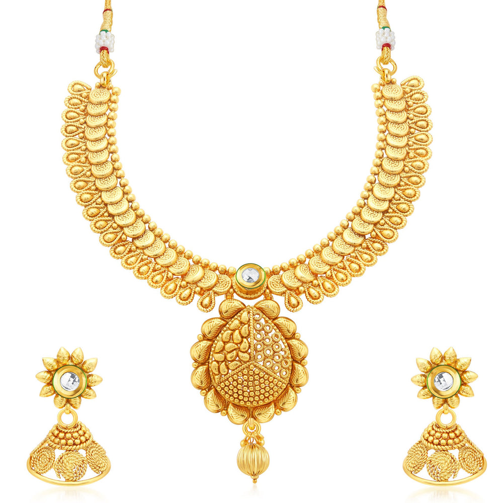 Sukkhi Fine Jalebi Gold Plated Collar Necklace Set For Women