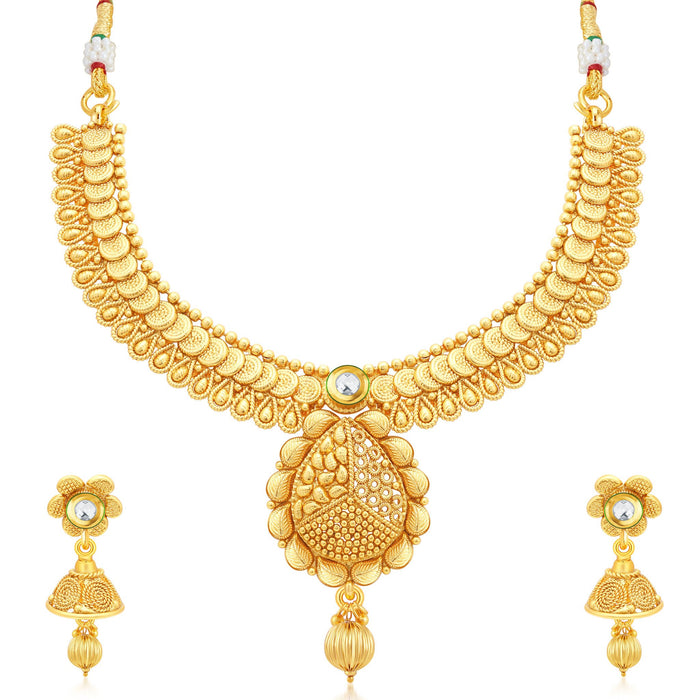 Sukkhi Fancy Jalebi Gold Plated Collar Necklace Set For Women