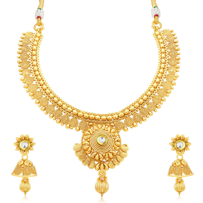Sukkhi Beguiling Jalebi Gold Plated Collar Necklace Set For Women