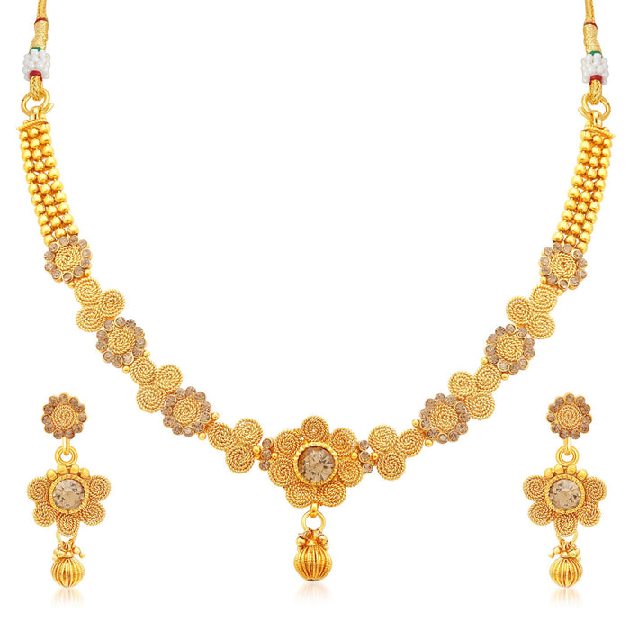 Sukkhi Dazzling Jalebi Gold Plated LCT Stone Collar Necklace Set For Women