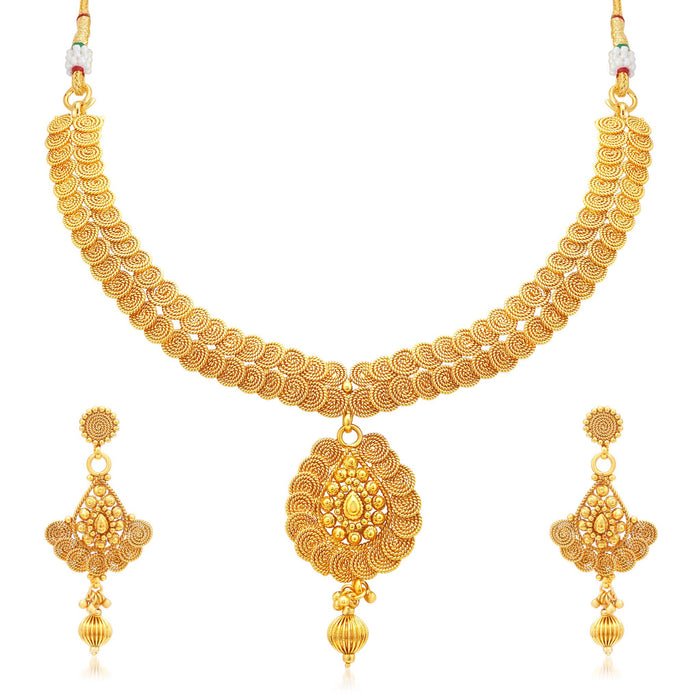 Sukkhi Ritzy Jalebi Gold Plated Collar Necklace Set For Women