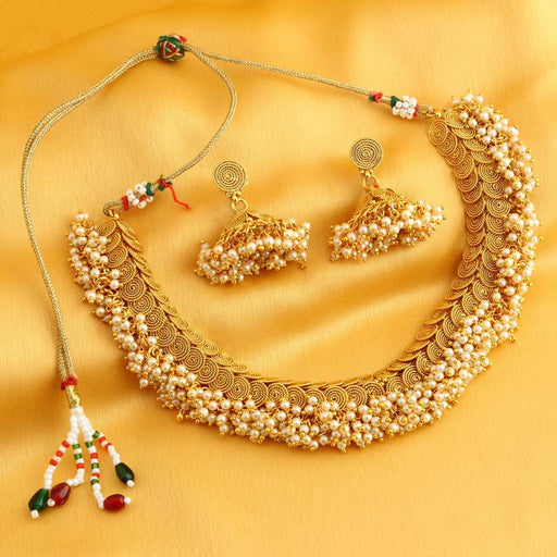 Sukkhi Excellent Jalebi Gold Plated Choker Necklace Set For Women