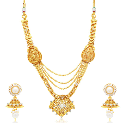 Sukkhi Appealing 3 String Laxmi Temple Gold Plated Long Haram Necklace Set For Women