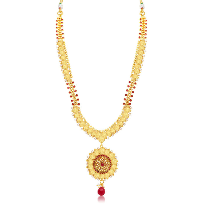 Sukkhi Lavish Laxmi Coin Temple Gold Plated Long Haram Necklace Set For Women-1