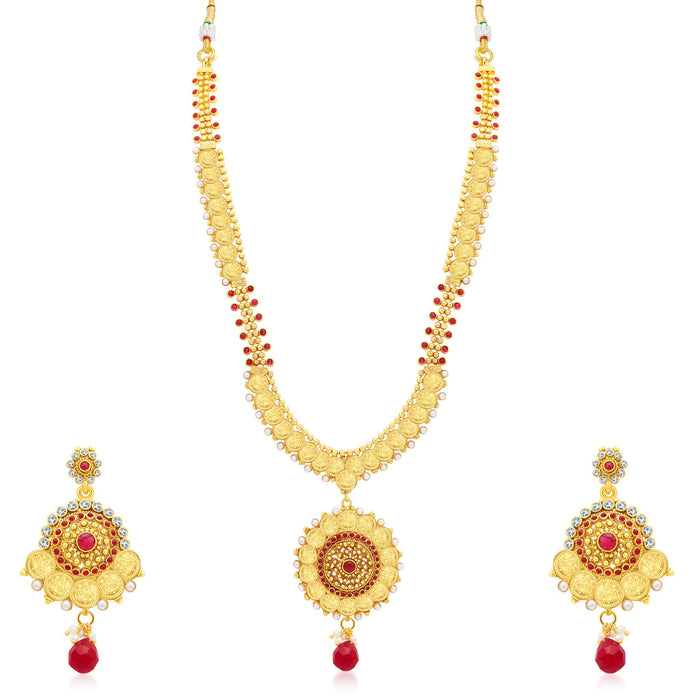 Sukkhi Lavish Laxmi Coin Temple Gold Plated Long Haram Necklace Set For Women