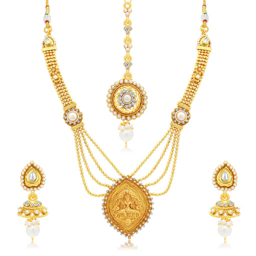 Sukkhi Attractive Laxmi Temple Gold Plated AD Long Haram Necklace Set For Women