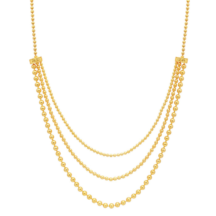 Sukkhi Excellent 3 String Gold Plated Long Haram Necklace Set For Women-1