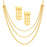 Sukkhi Excellent 3 String Gold Plated Long Haram Necklace Set For Women