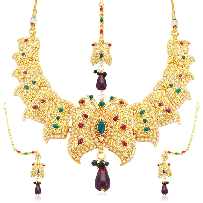 Sukkhi Stunning Butterfly Gold Plated Collar Necklace Set For Women