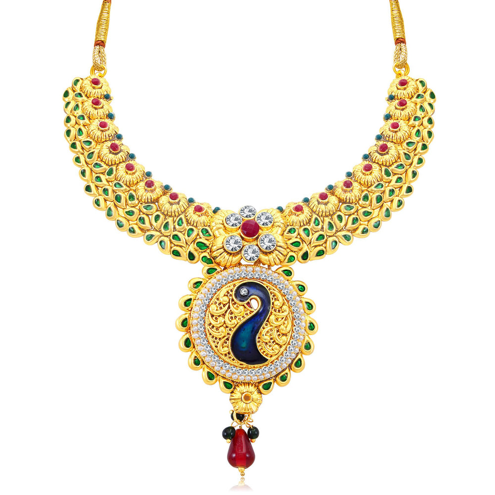 Sukkhi Incredible Peacock Gold Plated AD Collar Necklace Set For Women-1
