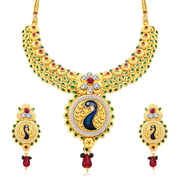 Sukkhi Incredible Peacock Gold Plated AD Collar Necklace Set For Women