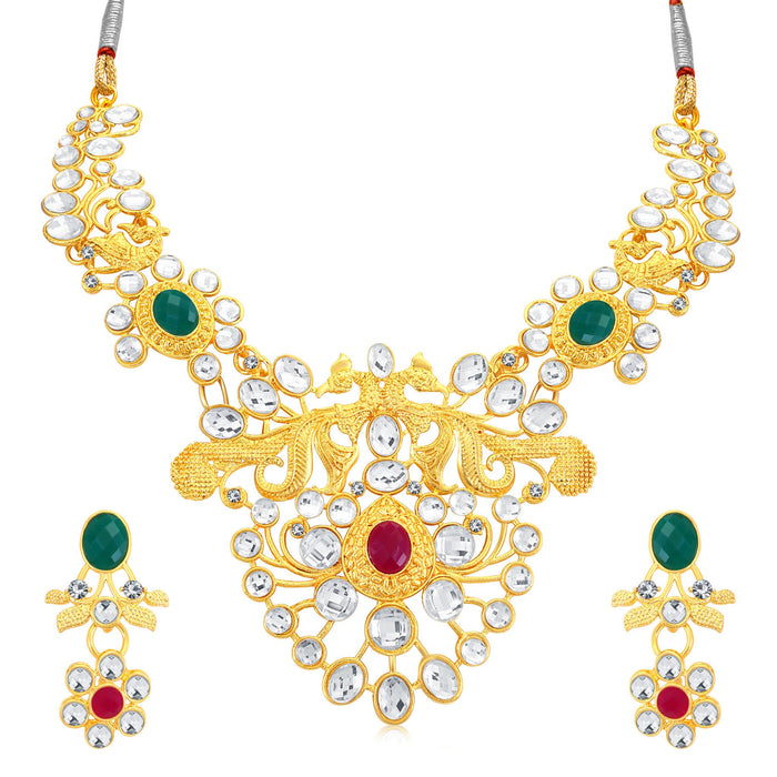 Sukkhi Astonish Peacock Gold Plated AD Collar Necklace Set For Women