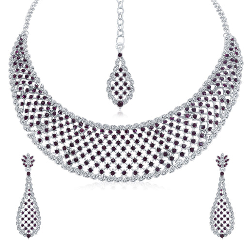 Sukkhi Stylish Rhodium Plated AD Choker Necklace Set For Women