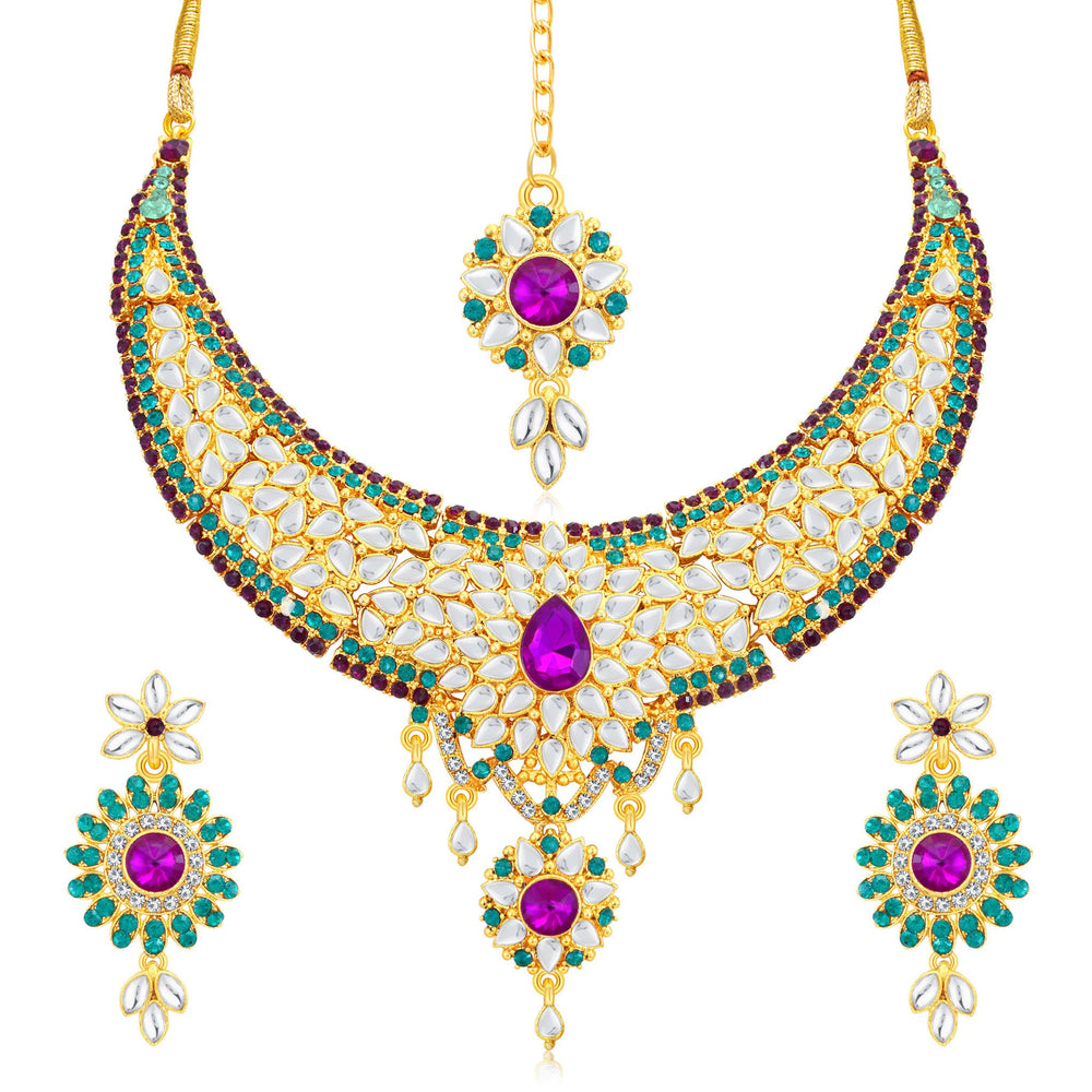 Sukkhi Modish Gold Plated AD Collar Necklace Set For Women