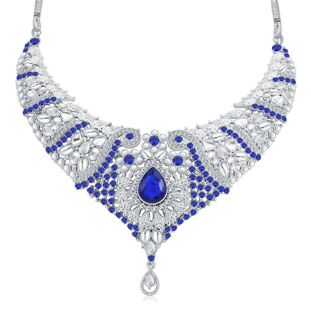 Sukkhi Glimmery Rhodium Plated AD Collar Necklace Set For Women-1