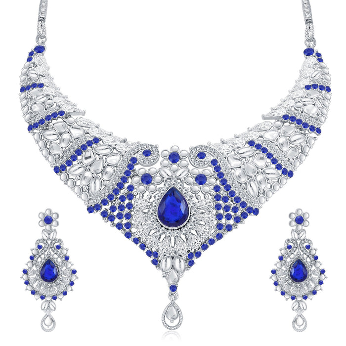 Sukkhi Glimmery Rhodium Plated AD Collar Necklace Set For Women
