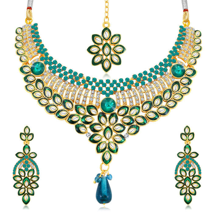 Sukkhi Delightful Gold Plated AD Collar Necklace Set For Women