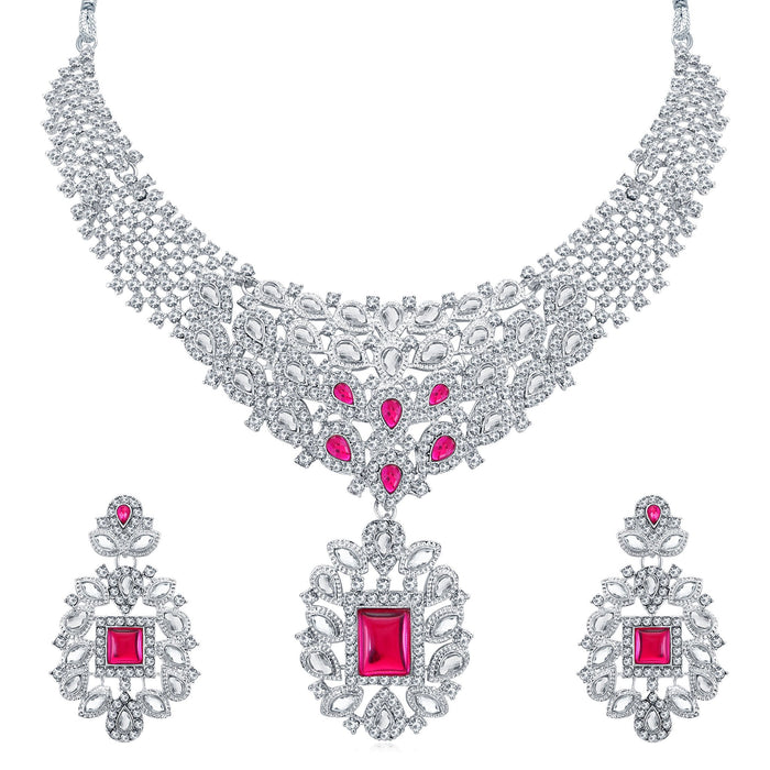 Sukkhi Modern Rhodium Plated AD Collar Necklace Set For Women