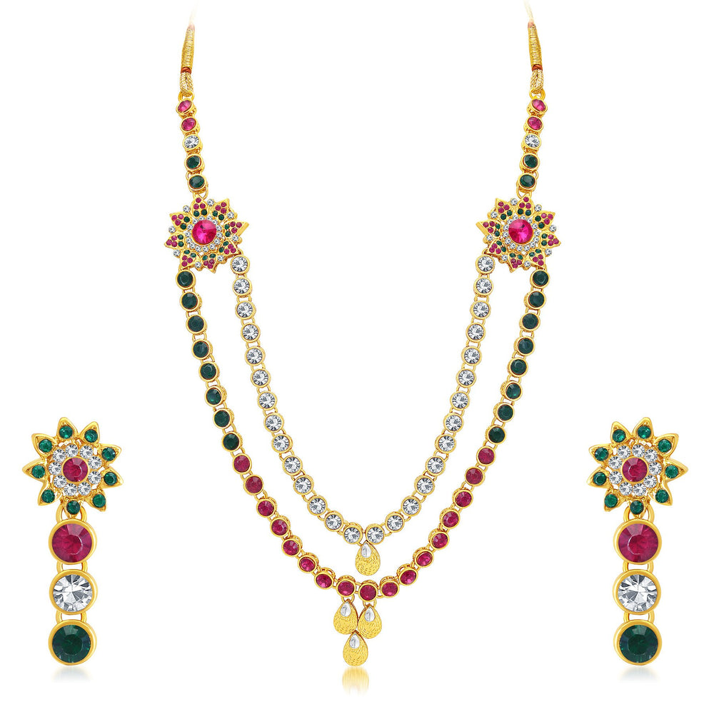 Sukkhi Royal 2 String Gold Plated AD Long Haram Necklace Set For Women